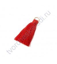 Декоративная кисточка из нитей, длина кисточки 2.5 см, 1 шт, цвет красный