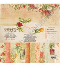 Набор бумаги Золотая осень, 20х20 см, 190 гр/м, 6 двусторонних листов + 2 листа с карточками