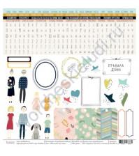 Бумага для скрапбукинга односторонняя, коллекция Семейный альбом, размер 30.5х30.5 см, 190 гр\м2, лист Обо всем на свете