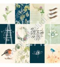 Бумага для скрапбукинга двусторонняя, коллекция PHOTOсинтез, 30х30 см плотность 190г/м, лист Птичьи трели