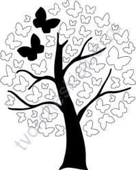 Штамп из резины на деревянной оснастке Дерево с бабочками