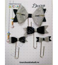 Набор декоративных Бантиков-2 на скрепках, 4 шт, цвет черный с серебром