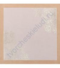 Калька декоративная с фольгированием Цветочная романтика, 20х20 см, плотность 80 гр/м2
