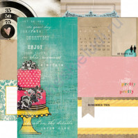 Бумага для скрапбукинга двусторонняя коллекция Birthday Wishes, 30.5х30.5 см, 190 гр/м, лист Cake Stand