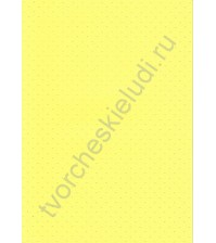 Лист бумаги для скрапбукинга с эмбоссированием (тиснением) Точки, А4, 160 гр, цвет желтый