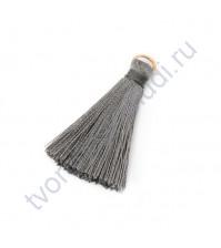 Декоративная кисточка из нитей, длина кисточки 3.5 см, 1 шт, цвет серый