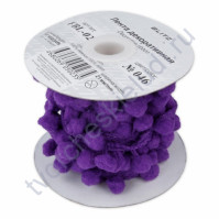 Тесьма с помпончиками, шир. 21 мм, цвет фиолетовый, 1 метр