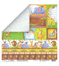 Бумага Mr.Painter 30.5х30.5 см Зоопарк карточки, лист PSW414