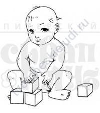 ФП печать (штамп) Малыш-строитель 3.6х4.2 см