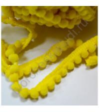 Тесьма с помпонами 5 мм, цвет желтый, 1 метр