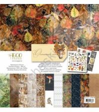 Набор бумаги для скрапбукинга Осенний лес, 30.5х30.5 см, 250 гр/м, 10 двусторонних листов+2 односторонних листа