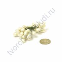 Тычинки полимерные диам. 8 мм на проволочном стебле, 25 шт, цвет молочный
