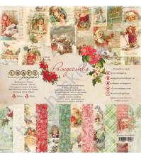 Набор бумаги Рождество, 30.5х30.5 см, 190 гр/м, 12 двусторонних листов + 4 листа с карточками