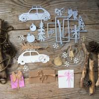 Набор ножей для вырубки Автомобиль с подарками, 13 элементов