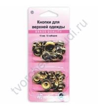 Декоративные кнопки 15 мм, 12 комплектов, цвет золото