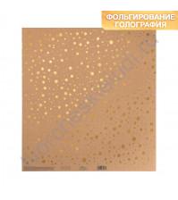 Бумага односторонняя крафтовая с фольгированием 30.5х30.5 см, 250 гр/м2, лист Брызги золота