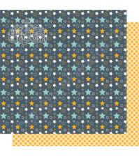 Бумага для скрапбукинга двусторонняя, коллекция Мой яркий мир, 30х30 см, 250 гр/м2, лист Звезды и желтая клетка