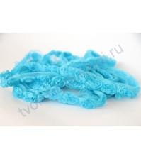 Лента с розами, шир. 2 см, цвет голубой, 1/2 ярда
