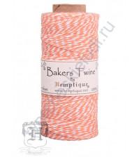 Шнур (шпагат) хлопковый Bakers Twine, диаметр 1 мм, цвет оранжевый-белый, 1 метр
