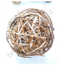 Шар плетеный малый, виноградная лоза, 6.8 см, коричневый с белыми вставками