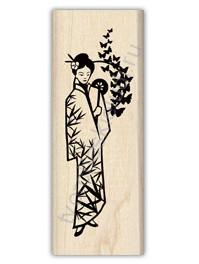 Штамп из резины на деревянной оснастке Бабочка и бамбук