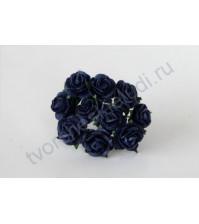 Мини-розочки 1 см, 10 шт, цвет синий