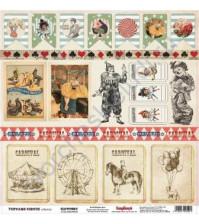 Бумага для скрапбукинга односторонняя 30.5х30.5 см 180 гр/м, коллекция Старый цирк, лист Клоунада