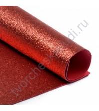 Фоамиран с глиттером, 2 мм, формат А4, цвет красный блеск
