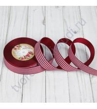 Лента репсовая Полоски, ширина 25 мм, цвет бордовый