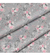 Ткань для рукоделия Букеты на сером, 100% хлопок, плотность 150 гр/м2, размер отреза 33х80 см