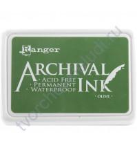 Штемпельная подушечка Archival Ink (архивные чернила), 8х5 см, цвет olive (оливковый)