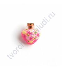 Стеклянная бутылочка с пробкой в форме сердца, 23х23х8 мм, цвет фуксия