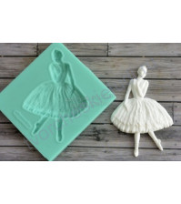 Форма силиконовая (молд) для полимерной глины, Ретро-балерина, 60х90 мм