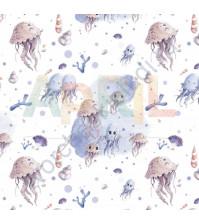 Бумага для скрапбукинга односторонняя Море волнуется РАЗ!, 30.5х30.5 см, 190 гр/м, лист Танец медуз