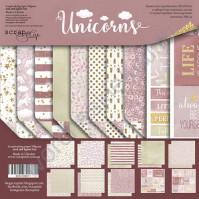 Набор двусторонней бумаги Unicorns, 30.5х30.5 см, 190 гр/м, 8 двусторонних листов + 2 листа карточек