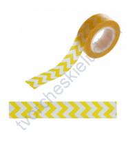 Бумажный скотч с принтом Зигзаг желтый, 1.5см х 10 м