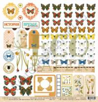 Бумага для скрапбукинга односторонняя коллекция Атлас бабочек, 30.5х30.5 см, 250 гр/м, лист Воспоминания