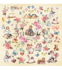 Бумага для скрапбукинга односторонняя 30.5х30.5 см, 190 гр/м, коллекция My honey bunny, лист Our childhood
