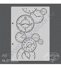 Трафарет Часы фоновый, размер А5, 14.8х21 см