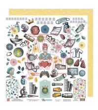 Бумага для скрапбукинга двусторонняя, 30.5х30.5 см, плотность 190 гр/м2, коллекция Все будет хорошо!, лист Мир вокруг нас