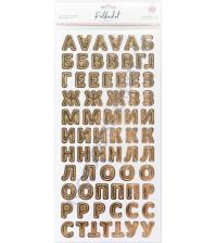 Набор вырубных элементов (чипборд) с фольгированием на клеевой основе Алфавит, толщина 1.2 мм, 144 элемента, цвет Светлое золото