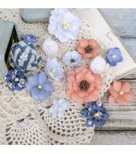 Цветы ручной работы из ткани, 16 шт, цвет кораллово-синий микс