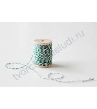 Шнур хлопковый, диаметр 1 мм, цвет зеленый/белый, 1 метр
