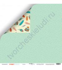 Бумага для скрапбукинга двусторонняя 30.5х30.5 см, 190 гр/м, коллекция Funny Friends, лист Дождик