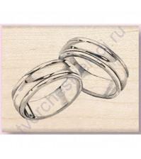 Штамп из резины на деревянной оснастке Wedding Rings, 4.5х5.5 см