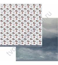 Бумага для скрапбукинга двусторонняя коллекция Мужское дело, 30.5х30.5 см, 190 гр/м, лист Водная стихия