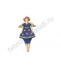 Декоративная пуговица Девочка в синем, 39х71 мм