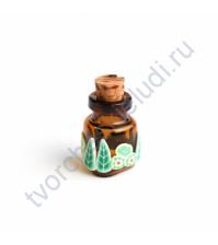 Стеклянная бутылочка с пробкой треугольная, 22х18х8 мм, цвет зеленый