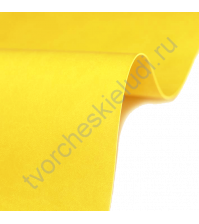 Кожзам переплетный на полиуретановой основе плотность 230 гр/м2, 50х70 см, цвет E282 - солнечный желтый