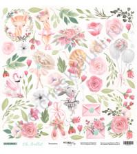 Бумага для скрапбукинга односторонняя 30.5х30.5 см, 190 гр/м, коллекция Oh, Ballet, лист Цветы